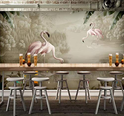 - Wall Mural 3D Wallpaper Hand Painted Watercolor Plant Flamingos Modern Wall Paper for Living Room Bedroom Tv Wall Decor