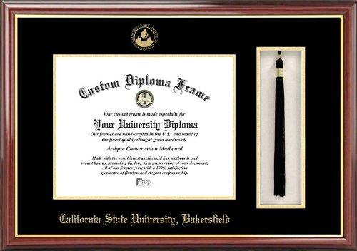 Diploma Frame Tassel Box Laminated Visuals California State University Bakersfield Roadrunners Mahogany Embossed Logo