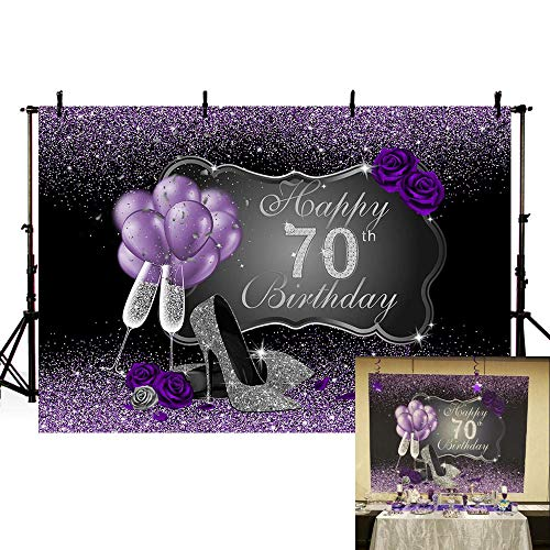 MEHOFOTO Black and Purple Photo Background Silver High Heels Champagne Woman Purple Rose Balloons 70th Happy Birthday Party Banner Backdrops for Photography 8x6ft]()