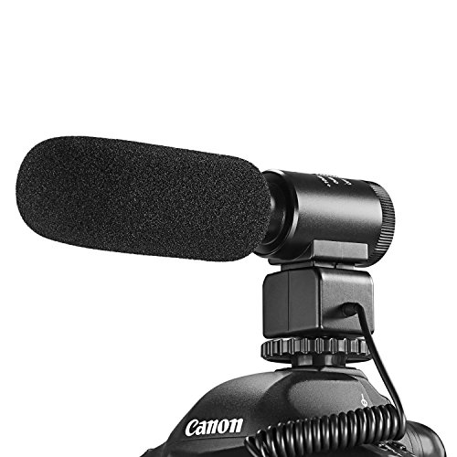Neewer 3.5mm Recording Interview Microphone Professional Stereo with 10dB Sensitivity Enhancement for DSLR Camera DV Recorder Camcorder Aluminum Alloy Body