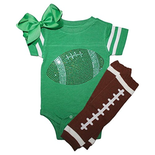 FanGarb Rhinestone Infant Toddler Baby Girls Football Green Team Color Outfit 6mo