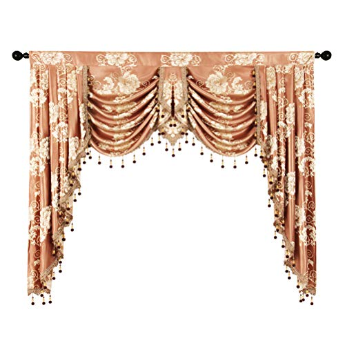 (elkca Golden Jacquard Swag Waterfall Valance Luxury Curtain Valance for Living Room (Floral-Coffee, W59 Inch, 1 Panel) )