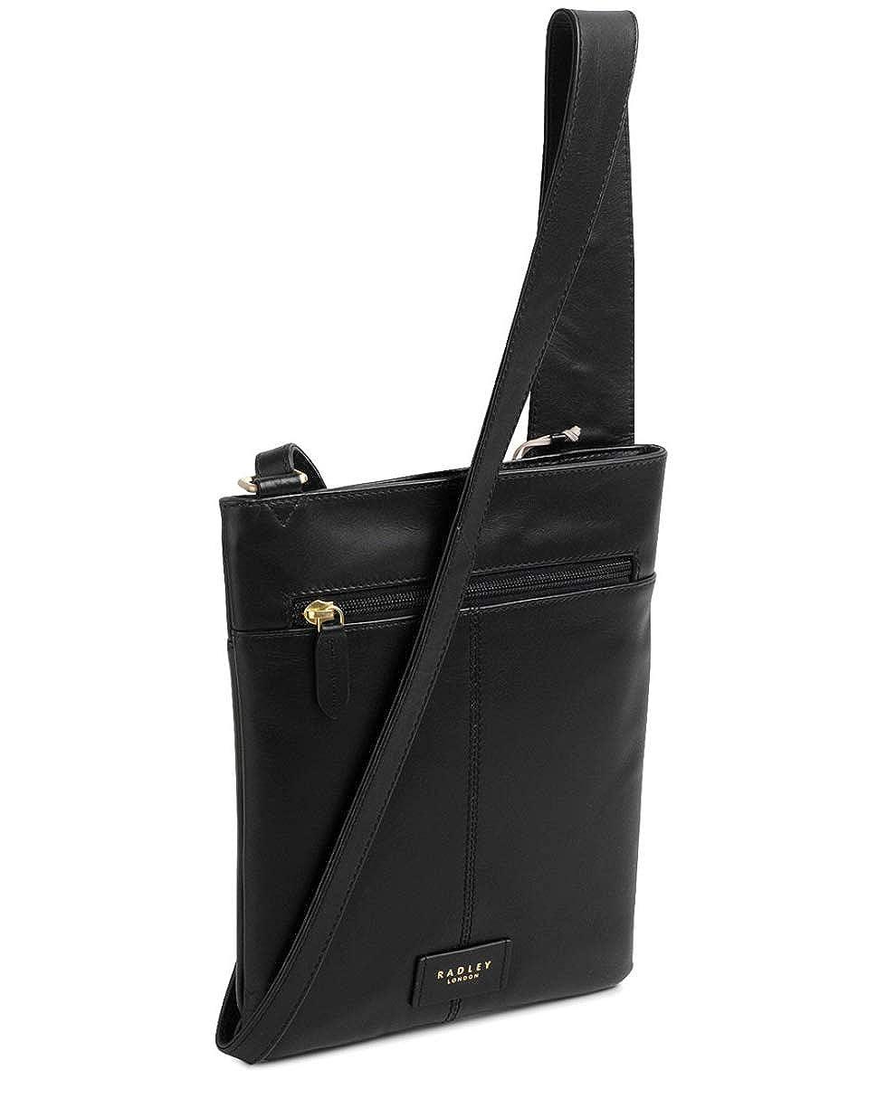 505851e24a3a44 RADLEY 'Pocket Bag' Medium Black Leather Across Body Bag - RRP £119:  Amazon.co.uk: Clothing