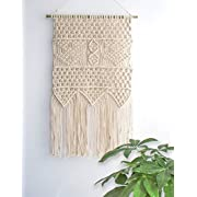 Macrame Wall Hanging Tapestry - BOHO Chic Home Decorative Interior Wall Decor - Bohemian Ethnic Apartment Dorm Room Art Decor - Living Room Bedroom Decorations, 13.0 W x 23.6 L