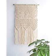 "Macrame Wall Hanging Tapestry - BOHO Chic Home Decorative Interior Wall Decor - Bohemian Ethnic Apartment Dorm Room Art Decor - Living Room Bedroom Decorations, 13.0""W x 23.6""L"