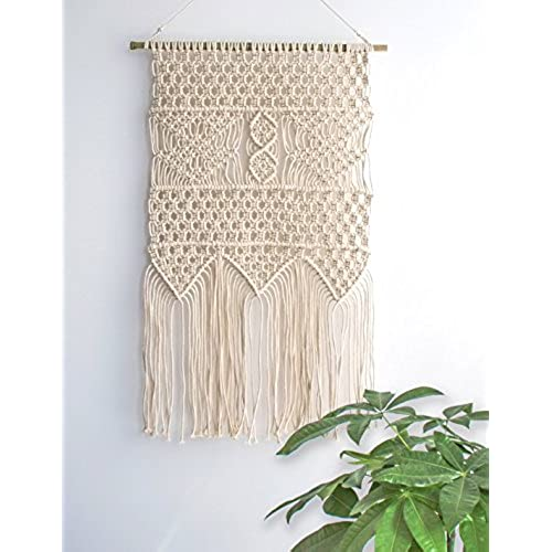 Macrame Wall Hanging Tapestry   BOHO Chic Home Decorative Interior Wall  Decor   Bohemian Ethnic Apartment Dorm Room Art Decor   Living Room Bedroom  ...