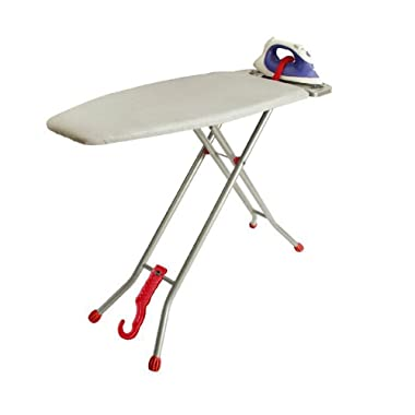 Ironmatik Space Saving Ironing Board - 44  X 15  Usage Area (Board Lenght 35 ) - Adjustable Height, Easy Storage, Wrinkle-Free Top with Three Layers, Red, U.S. Trademark SN 8783740