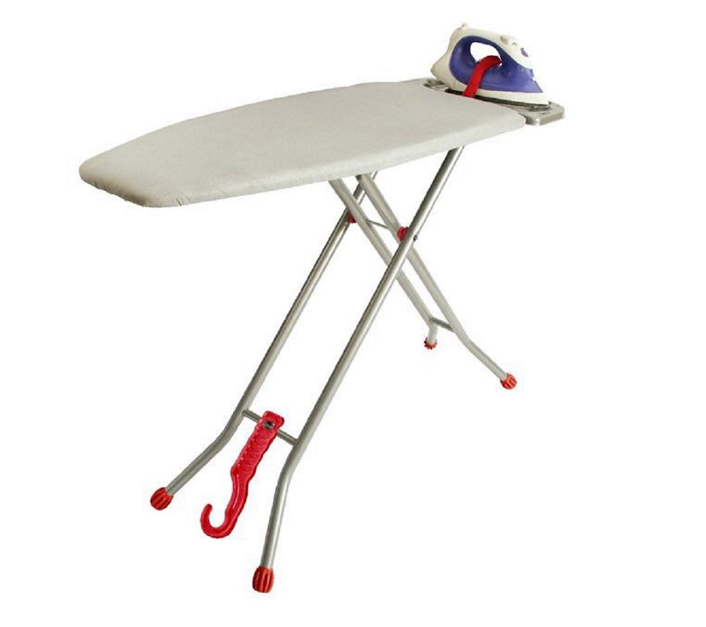 Ironmatik Space Saving Ironing Board - 44'' X 15'' Usage Area (Board Lenght 35'') - Adjustable Height, Easy Storage, Wrinkle-Free Top with Three Layers, Red by Ironmatik