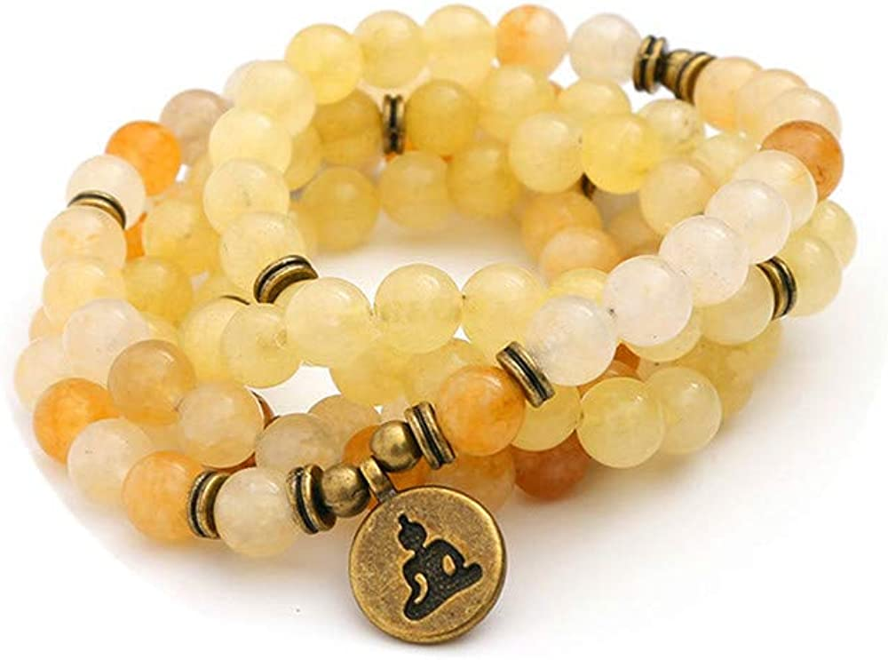 TYGJB Moda Mujer `s de Piedra Natural Cuentas de Pulsera de Jade Amarillo con Lotus Charm Yoga Pulsera 108 Mala Collar