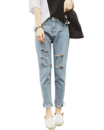 6799246bb9a Quge Ladies Womens Ripped Jeans with Holes Loose Casual Stretchy Ankle  Trousers  Amazon.co.uk  Clothing