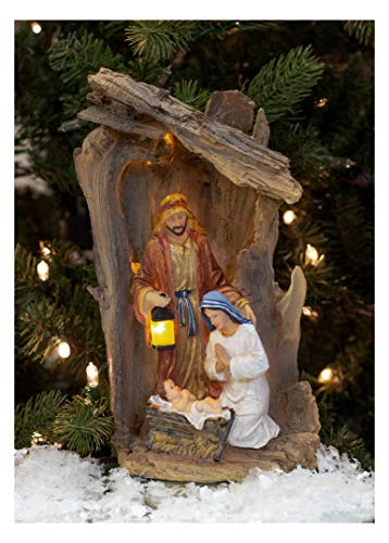 THREE KINGS GIFTS THE ORIGINAL GIFTS OFCHRISTMAS Driftwood Creche Holy Family LED Light-up 14 x 8.5 Resin Stone Nativity Table Top Figurine