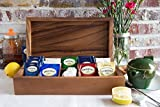 Wooden Decorative Tea Bag Storage Chest Box for Condiment Spice Vintage Rustic Kitchen Organizer with 8 Compartments (Design1)