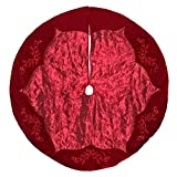 New Traditions 56 Inch Satin Tree Skirt with Sequin Embroidered Velvet Border (Burgundy)