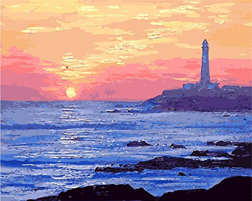 Koomt Wooden Framed Jeju Island Japan Sea Oil Painting by Numbers Hand Painted Paint Coloring by Number Canvas Painting Picture Home Decor Drawing 16X20 Inch