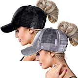 ZOORON High Ponytail Baseball Hats Cap for Women,Messy Bun Ponycaps Adjustable Cotton and Mesh(Glitter(Mesh)-Black/Sliver)