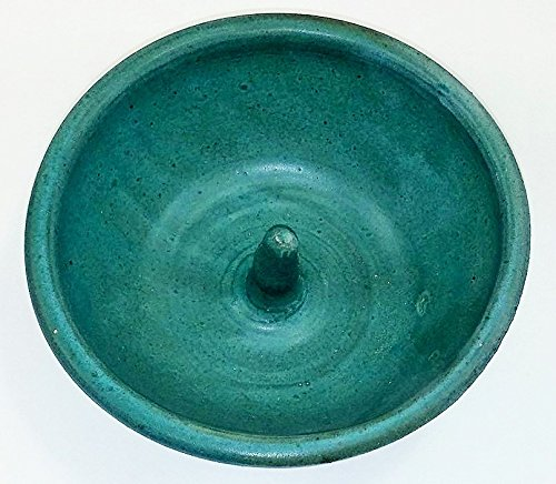 Aunt Chris' Pottery - Hand Made Clay - Individual Apple Baking and Serving Dish - With Molden-in - Fast Baking Spike - In the Center - Green Goats Milk Colored Glazed (Colored Baking Clay compare prices)