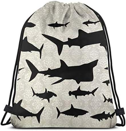Drawstring Backpack Bag, Cinch Sack, Sport Gym Bag For Women Or Men, Shark Pattern