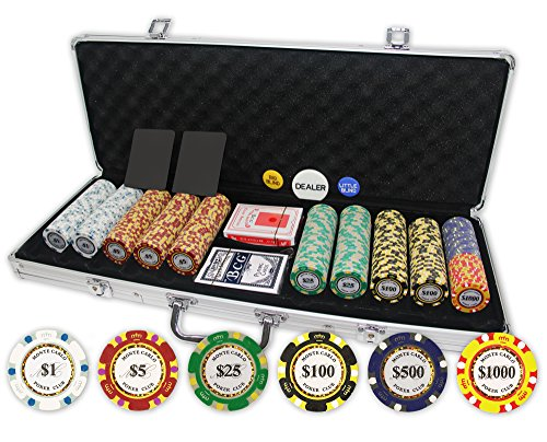 Monte Carlo Poker Club Set of 500 14 gram 3-Tone Chips with Aluminum Case, Cards, 2 Cut Cards, Dealer & Blind Buttons