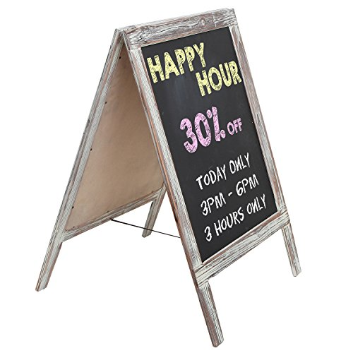 MyGift Freestanding Rustic Torched Wood Message Memo Chalkboard Sign/Sidewalk A-Frame Chalk Sandwich Board (A-frame Sign)