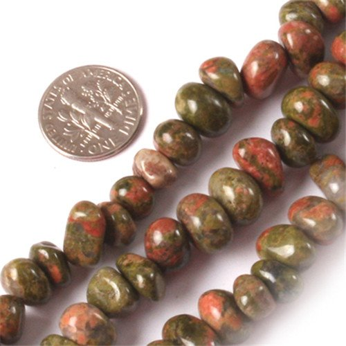 (GEM-inside Unakite Gemstone Loose Beads Natural Energy Power Beads For Jewelry Making Potato Shape 8-10X12-14mm 15
