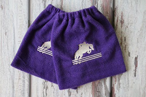 Jumping Embroidered Horse - English Stirrup Covers, Stirrup Bag, Equine Iron Covers, Elastic Closing, Embroidered Jumping Horse and Rider Purple