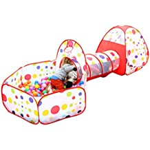 EocuSun Polka Dot 3-in-1 Folding Kids Play Tent with Tunnel, Ball Pit and Zippered Storage Bag