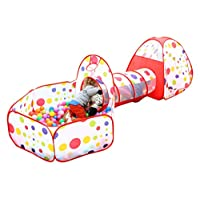 EocuSun Polka Dot 3 in 1 Folding Kids Play Tent with Tunnel, Ball Pit and Zip...