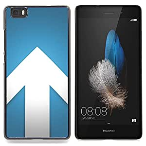 Stuss Case / Funda Carcasa protectora - Flecha Azul Blanco Minimalista Diseño - Huawei Ascend P8 Lite (Not for Normal P8)