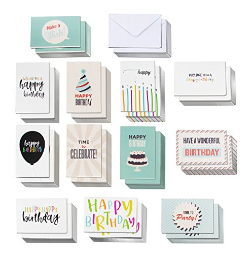 - 120-Pack Happy Birthday Cards - Includes 12 Colorful Designs with Party Hats, Balloons, Candles, Birthday Cake, 10 of Each, Bulk Box Set Variety Pack with Envelopes Included, 4 x 6 Inches