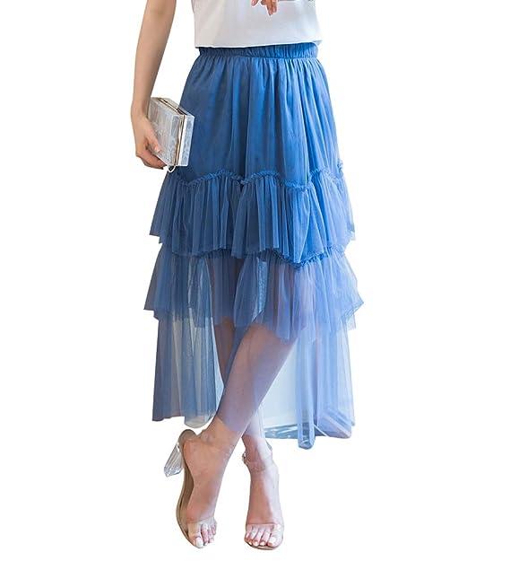 5c8742a9da Byqny Mujer Faldas a Media Pierna Elegante Bordado a Cielo Abierto Falda  Midi Falda de Tejido  Amazon.es  Ropa y accesorios