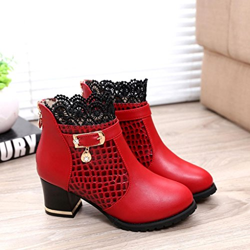 Riding Ankle Zip Boots Thick Shoes Heel Platform Sexy Boots Hatop Women Red Women Buckle vBqTww