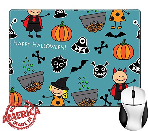 """Luxlady Unadorned Rubber Mouse Pad/Mat with Stitched Edges 9.8"""" x 7.9"""" IMAGE ID: 32098520 Halloween seamless pattern with boiler monster pumpkins and other symbols of the feast"""