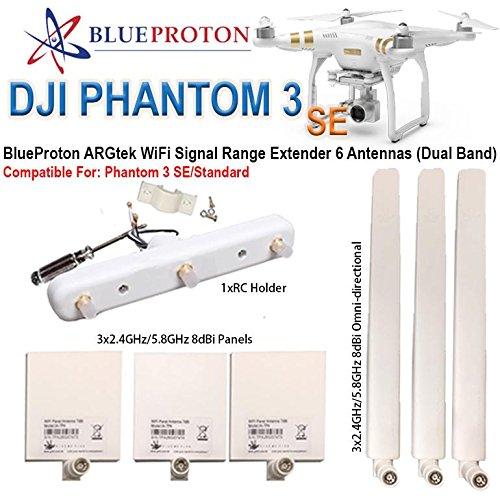 BlueProton ARGtek DJI Phantom 3 SE WiFi Signal Range Extender 6 Antennas (Dual Band) by BlueProton