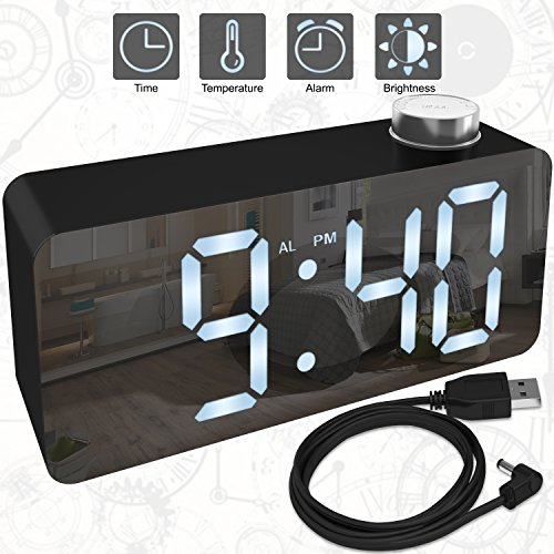 Alarm Clock – Digital Clock LED Display – Time Snooze Temperature Brightness Dimmer – Desk Clock for Kids Heavy Sleepers Adults – Black Modern Alarm Clocks for Bedrooms Bedside Home Battery Clock