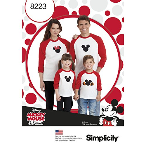 Simplicity Creative Patterns US8223A 8223 Simplicity Pattern 8223 Child's & Adults Knit Tops with Disney Appliques