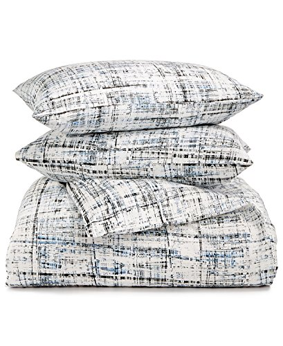 Calvin Klein Home City Plaid, Queen Duvet Set, Storm, 3 Piece