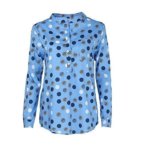 Bleu avec S V Automne Taille Bouton Pois Chic Casual Blouse Tunique Tops Manches Printemps Solike Grande Femme T Chemise Loose Longues 5XL Shirt Col 1qwzFxvng