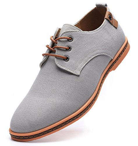 DADAWEN Men's Casual Canvas Lace Up Oxfords Shoes Gray US Size 12 (Best Dress Shoes For Grey Suit)