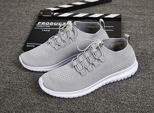 Walking Running Athletic Shoes and Women Men Grey Lightweight Casual Shoes Sneakers nf8IRq