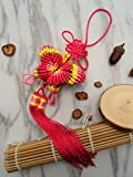 Feng Shui Decor KNOT LOVE Chinese Knot Tassels with Butterfly Good Luck Charm for Success and Wealth Home Hanging Ornament … (Pink With Yellow)