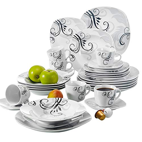 White Oven Tableware - VEWEET 30-Piece Porcelain Square Tableware Set Decal Patterns White Plate and Bowl Set with Dinner Plate, Soup Plate, Dessert Plate, Saucer and Mug, Service for 6 (Zoey Series)