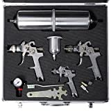 3 Hvlp Air Spray Gun Kit Auto Paint Detail Clearcoat +Case Basecoat Car Primer