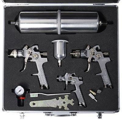 3 Hvlp Air Spray Gun Kit Auto Paint Detail Clearcoat Case Basecoat Car Primer
