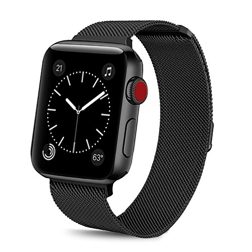 BRG Compatible Apple Watch Band 38mm, Stainless Steel Mesh Milanese Loop Adjustable Magnetic Closure Replacement iWatch Band Compatible Apple Watch Series 3 2 1 (38mm Black) by BRG (Image #2)