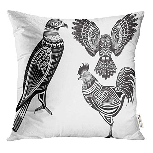Semtomn Throw Pillow Cove Eagle of Tribal Totem Animals Owl Tattoo Rooster Bird Decor Square 18x18 ()