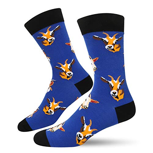 Men's Novelty Funny Cute Animal Crew Socks Crazy Blue Brown Black Colorful Head Goat Cotton Socks ()