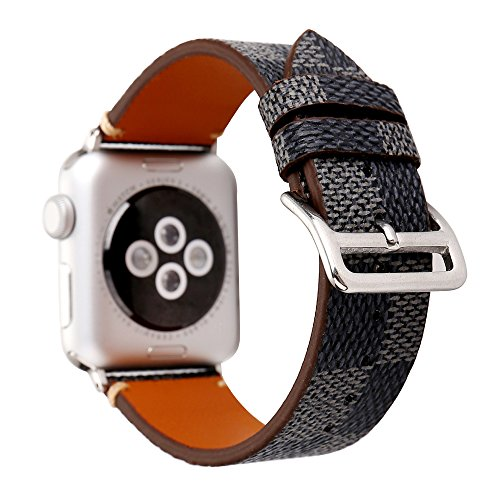 NewSilkRoad 38mm Plaid Pattern Leather Replacement Watch Band Strap Compatible for Apple Watch Series 3,Series 2, Series 1, Sport & Edition (A)