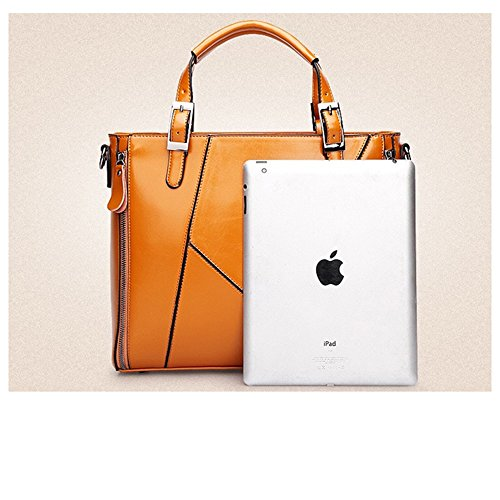 MeiliYH mujeres de aceite de cera de cuero bolso de las señoras de gran capacidad de hombro bolsa de hombro Bolsa de Oficina naranja