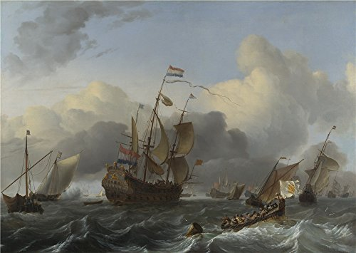 oil-painting-ludolf-bakhuizen-the-eendracht-and-a-fleet-of-dutch-men-of-war-printing-on-high-quality