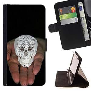 Jordan Colourful Shop - 3d printed skull white love god black For Apple Iphone 4 / 4S - < Leather Case Absorci????n cubierta de la caja de alto impacto > -